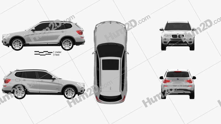 BMW X3 (F25) 2014 Clipart Image