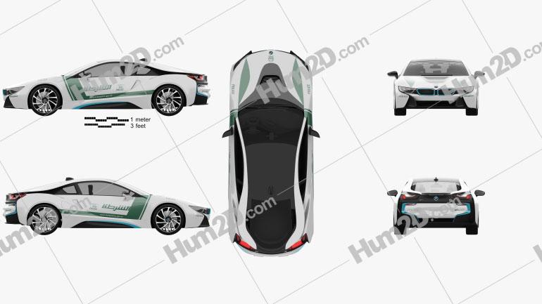 BMW i8 Police Dubai 2015 Clipart Image