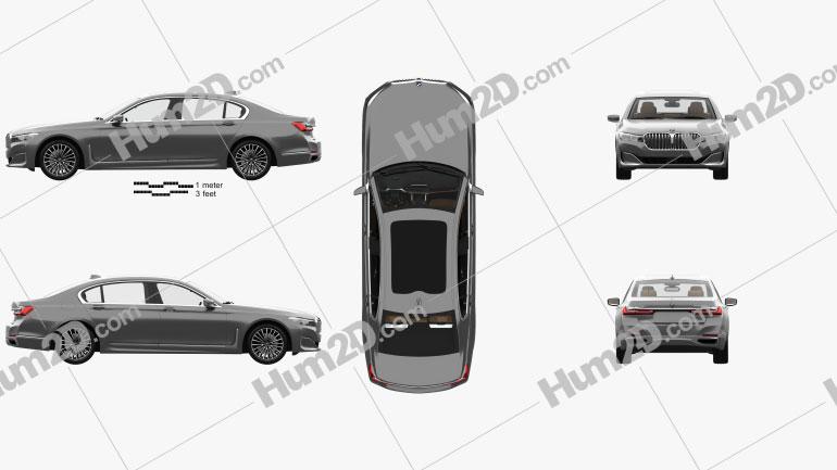 BMW 7-series L com interior HQ 2019 car clipart