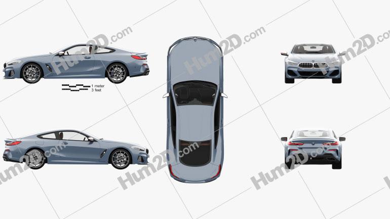 BMW 8 Series M850i coupe com interior HQ 2019 car clipart