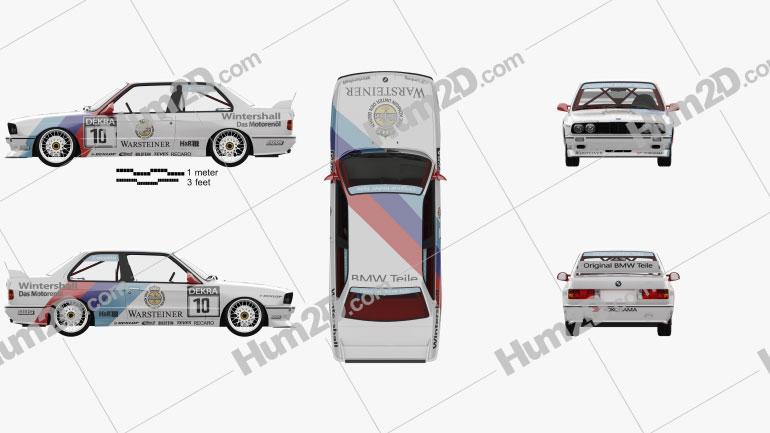 BMW M3 (E30) DTM coupe com interior HQ 1989 car clipart