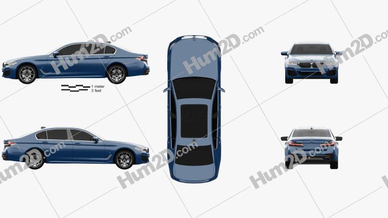 BMW 5 Series L M-sport sedan 2020 car clipart