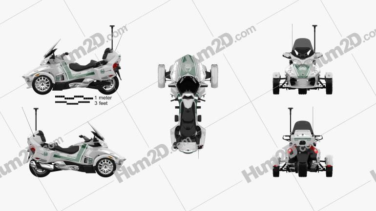 BRP Can-Am Spyder Police Dubai 2014 Motorcycle clipart