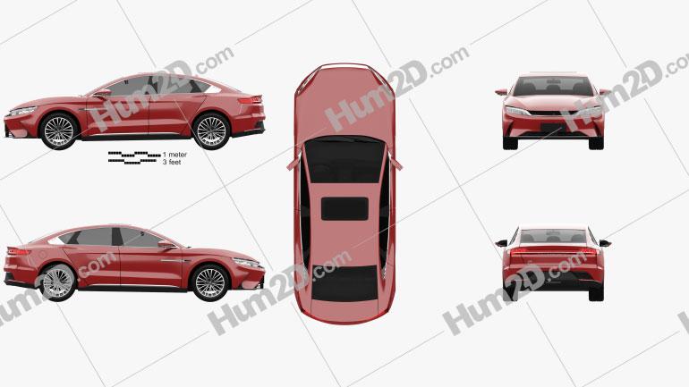 BYD Han EV 2020 car clipart