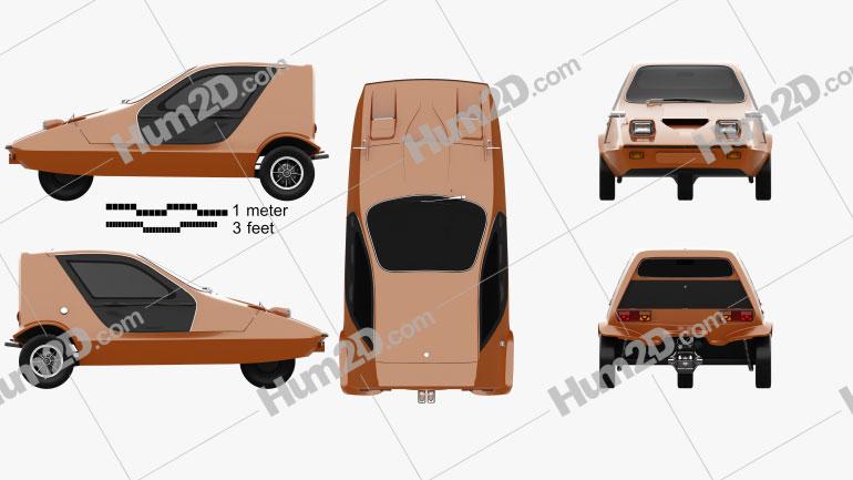 Bond Bug 1970 car clipart