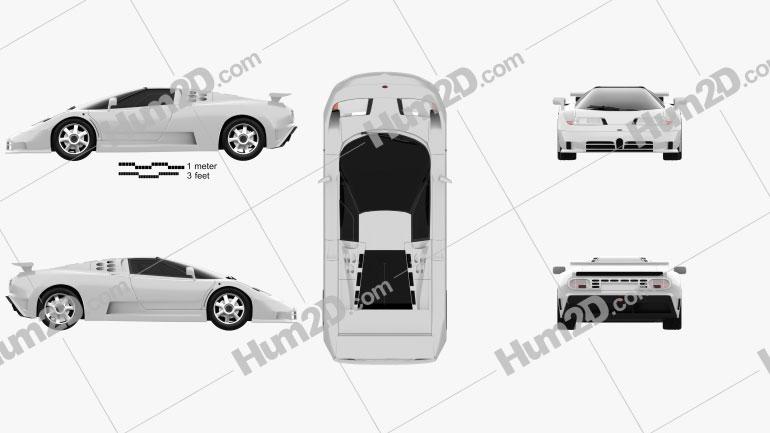 Bugatti EB110 1991 car clipart