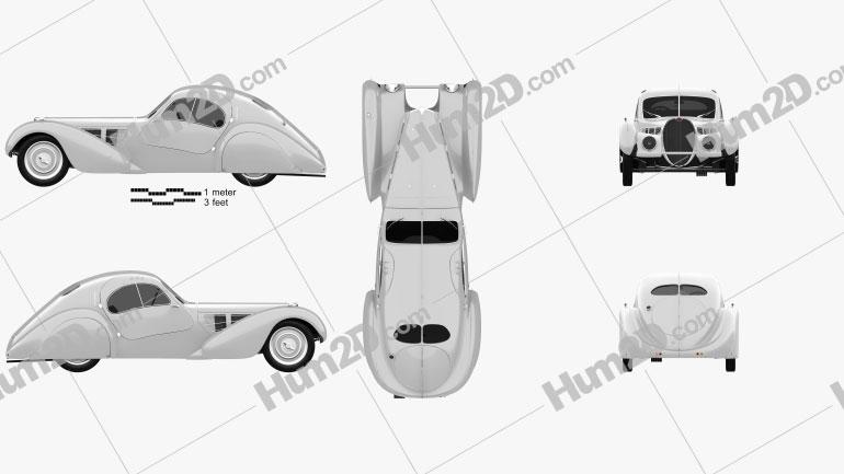 Bugatti Type 57SC Atlantic 1936 car clipart