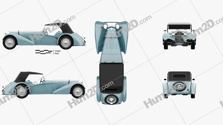 Bugatti 57SC Sports Tourer 1937 car clipart