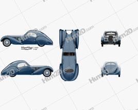 Bugatti Type 57SC Atlantic with HQ interior 1936 Clipart