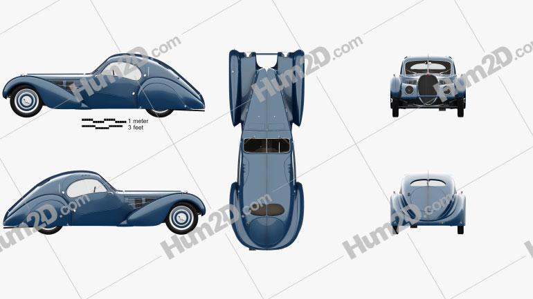 Bugatti Type 57SC Atlantic with HQ interior 1936 car clipart