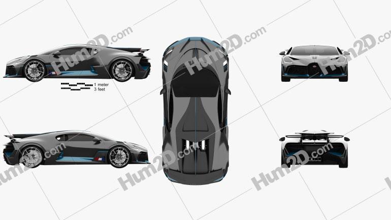 Bugatti Divo 2019 car clipart