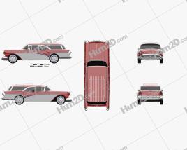 Buick Century Caballero wagon 1957 car clipart