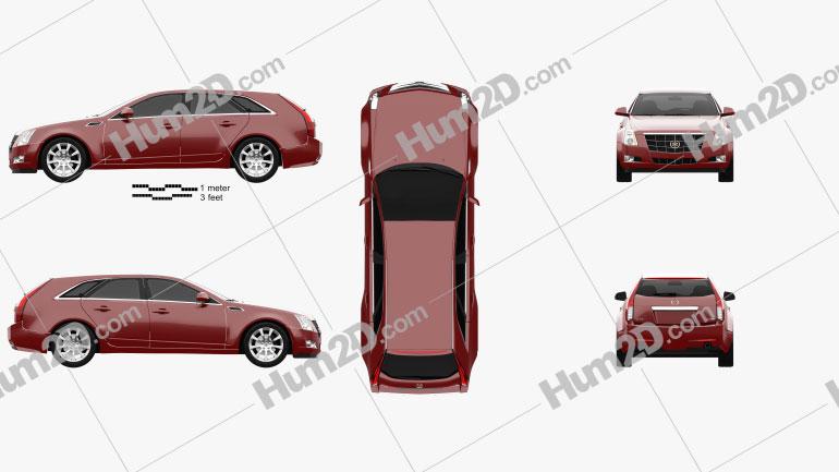 Cadillac CTS sport wagon 2009 car clipart