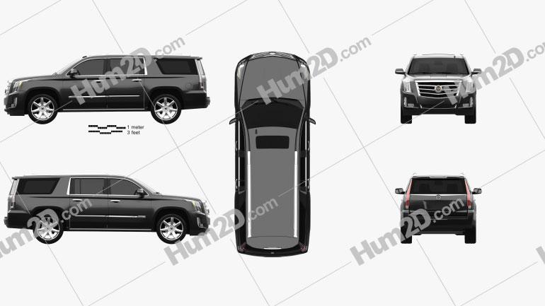 Cadillac Escalade ESV Platinum 2015 Clipart Image