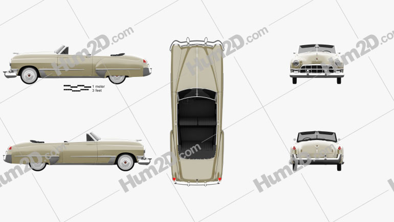 Cadillac 62 convertible 1949 car clipart