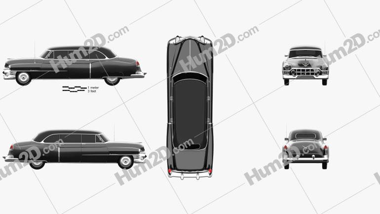 Cadillac 75 sedan 1953 car clipart
