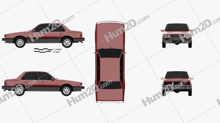 Cadillac Cimarron 1986 car clipart
