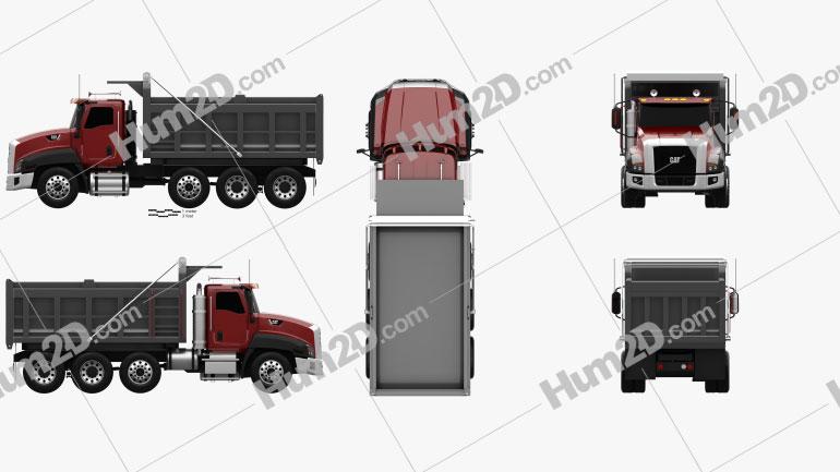 Caterpillar CT660 Dump Truck 4-axle 2011 Clipart Image