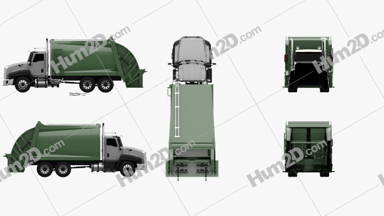 Caterpillar CT660 Rolloffcon Garbage Truck 2011 Clipart Image