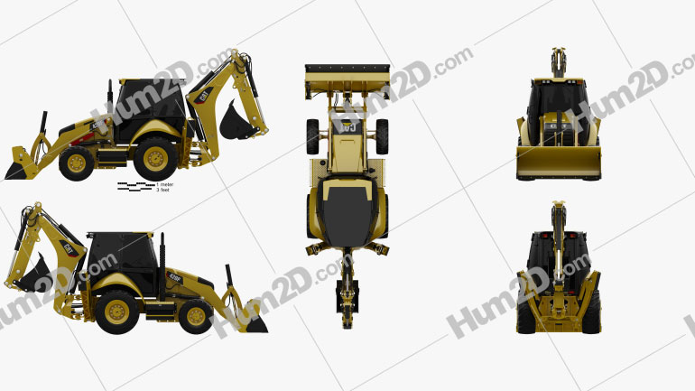 Caterpillar 420F Backhoe Loader Tractor clipart