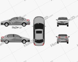 Chery A13 (Fulwin 2) liftback 2012 Grey car clipart