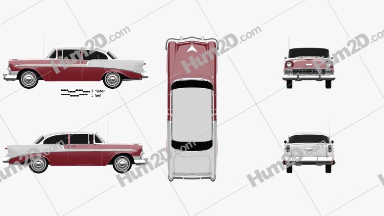 Chevrolet BelAir 2-door hardtop 1956 car clipart