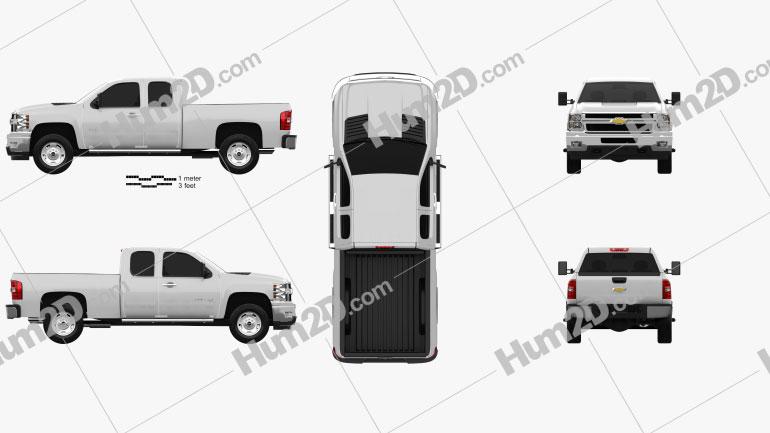 Chevrolet Silverado HD Extended Cab Standard Bed 2011 car clipart