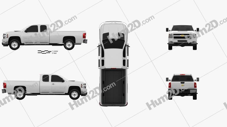 Chevrolet Silverado HD Extended Cab Long Bed 2011 car clipart