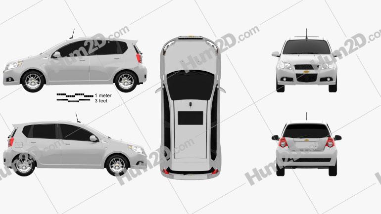 Chevrolet Aveo 5-door 2009 car clipart