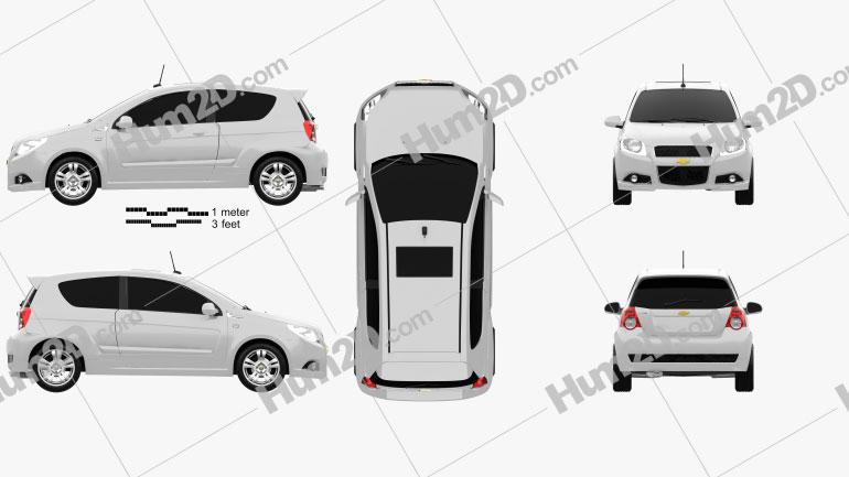 Chevrolet Aveo 3door 2009 Clipart Image