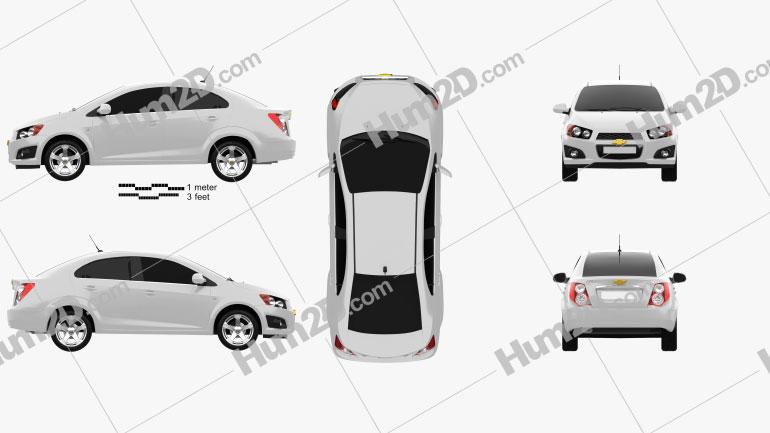 Chevrolet Aveo sedan 2011 Clipart Image