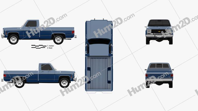 Chevrolet C/K Scottsdale Single Cab Standart Bed 1979 Clipart Image