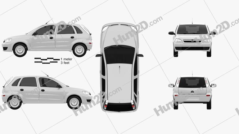 Chevrolet Corsa 5-door hatchback 2012 car clipart