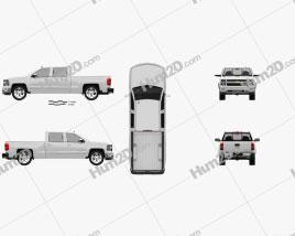 Chevrolet Silverado Crew Cab LTZ 2014 car clipart