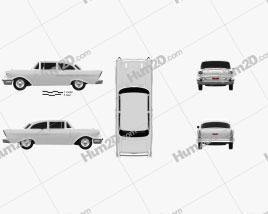 Chevrolet 150 2-door sedan 1957 car clipart