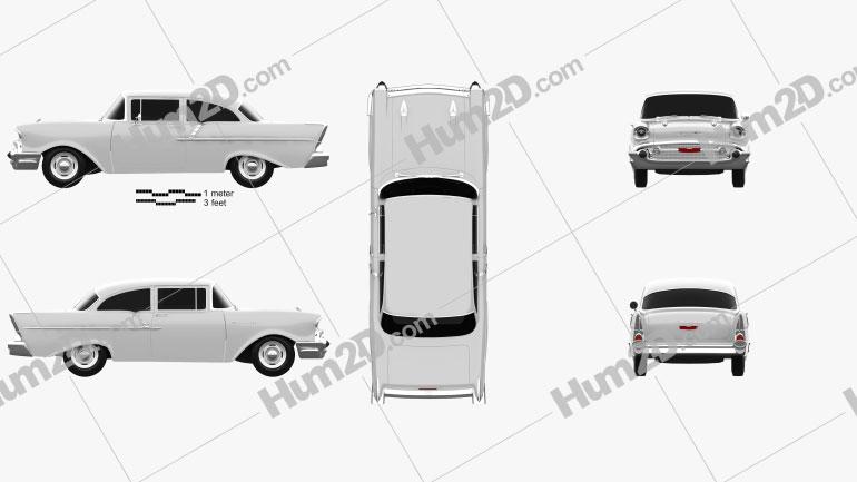Chevrolet 150 2-door sedan 1957 Clipart Image