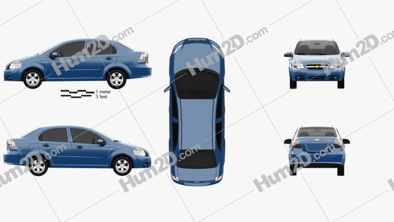 Chevrolet Aveo (T250) sedan 2006 Clipart Image