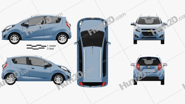 Chevrolet Spark LS 2013 Clipart Image