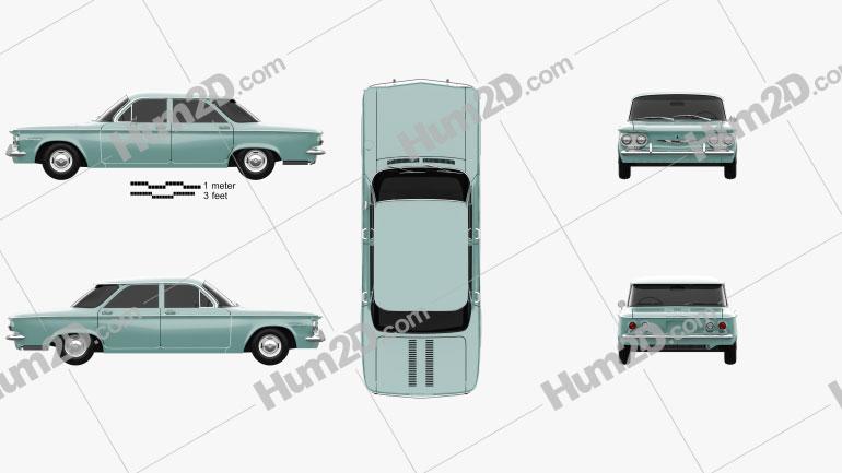 Chevrolet Corvair sedan 1960 Clipart Image