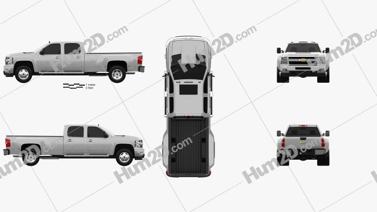 Chevrolet Silverado Crew Cab Dually 2010 car clipart