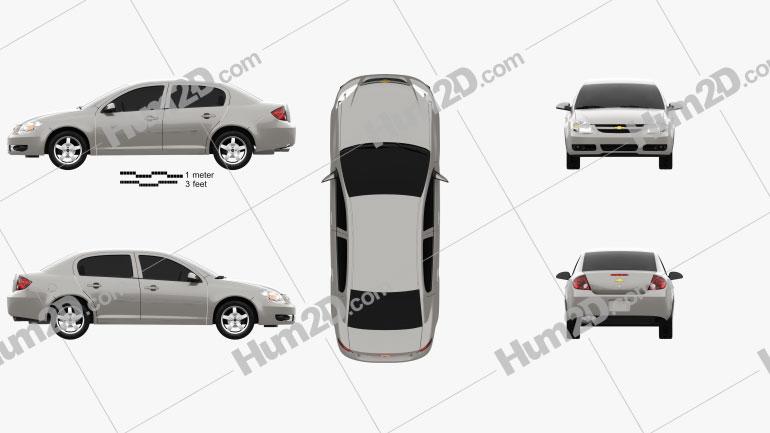Chevrolet Cobalt sedan 2004 Clipart Image