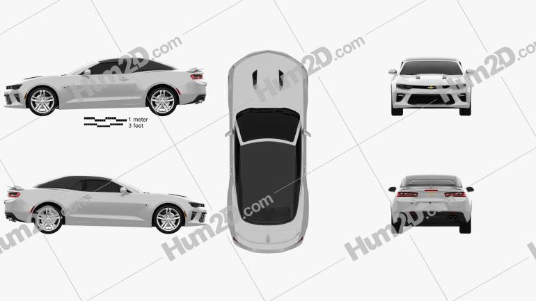 Chevrolet Camaro SS convertible 2016 Clipart Image