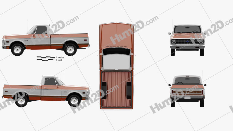 Chevrolet C10 Cheyenne Pickup 1971 Clipart Image