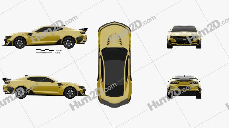 Chevrolet Camaro Bumblebee 2017 Clipart Image