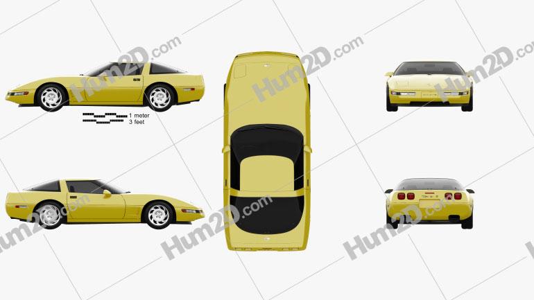 Chevrolet Corvette (C4) 1996 Clipart Bild