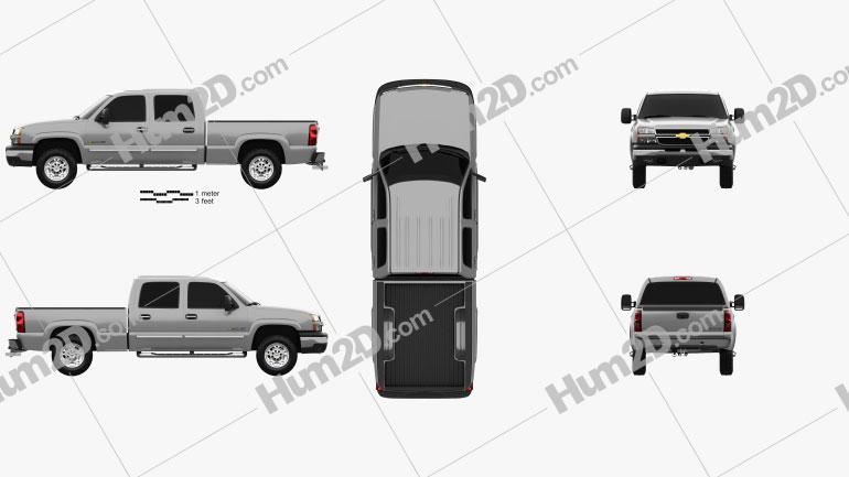 Chevrolet Silverado 2500 Crew Cab Long Bed 2002 car clipart