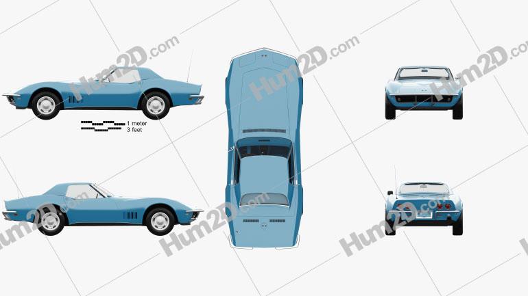 Chevrolet Corvette (C3) Convertible with HQ interior 1968 car clipart