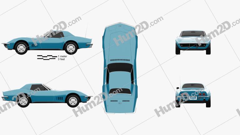 Chevrolet Corvette (C3) Descapotável 1968 car clipart