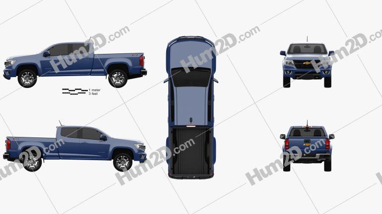 Chevrolet Colorado Crew Cab Long Box Z71 US-spec 2014 Clipart Image