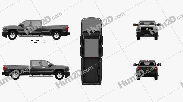 Chevrolet Silverado 3500HD Crew Cab Long Box High Country 2017 car clipart